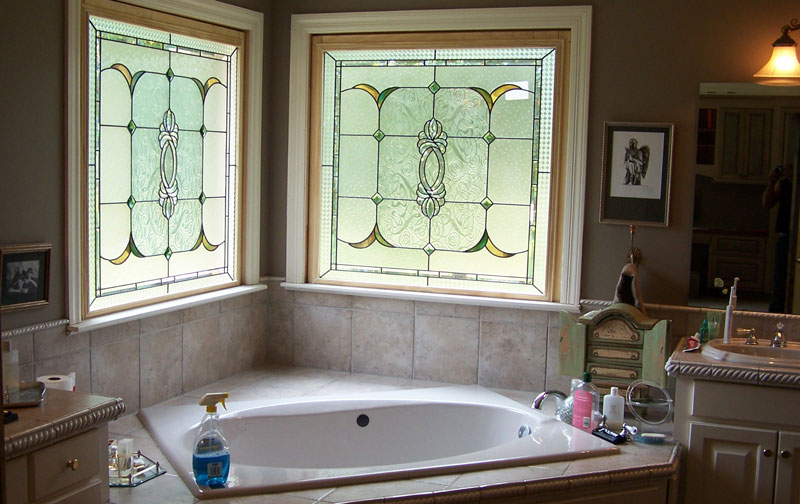 Bathroom Textured and Beveled Windows